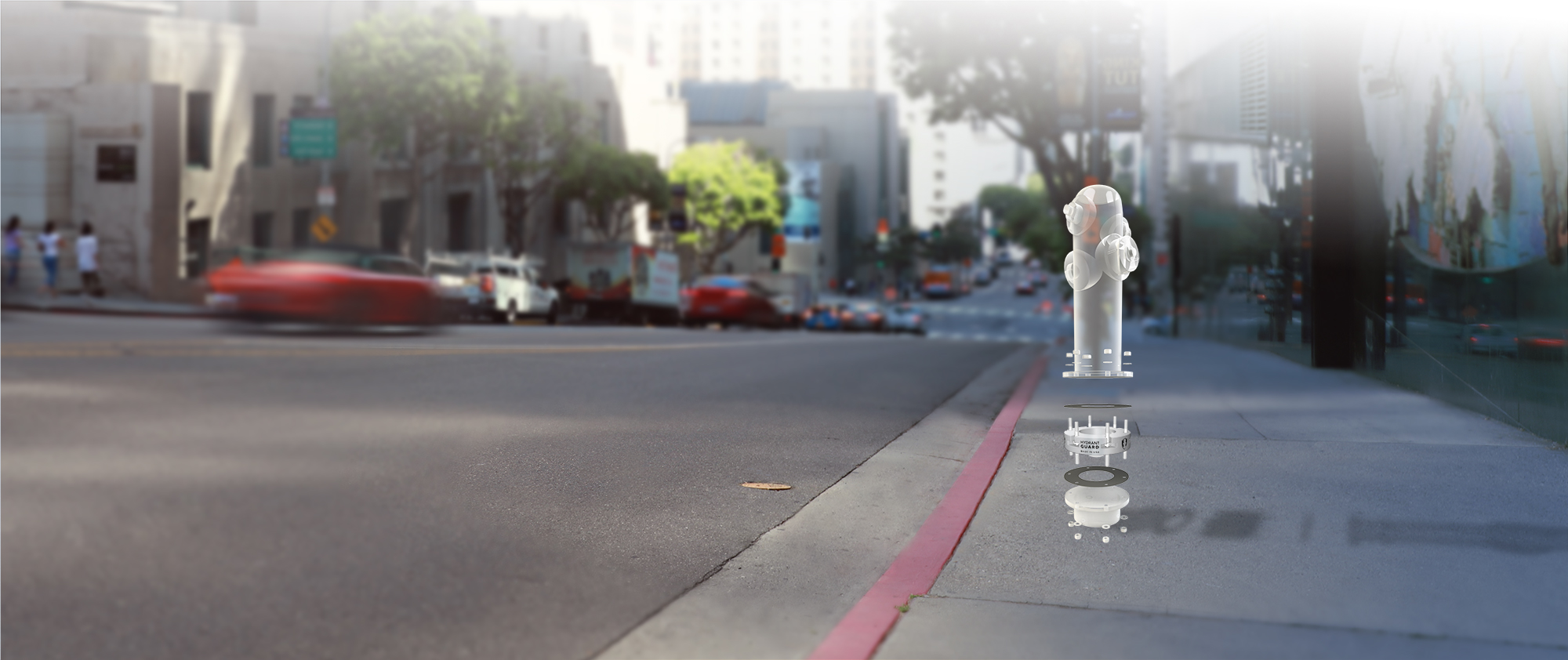 Hydrant Guard on LA street - exploded view